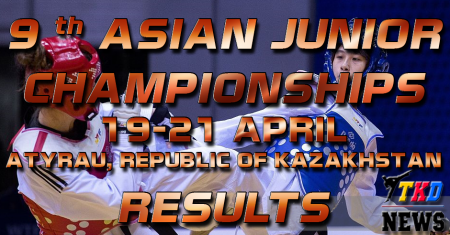9th Asian Junior Taekwondo Championships & 4th Asian Junior Poomsae Championships. Керуги. Результаты.